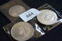 3 South African coins incl. a 1958 silver crown -
