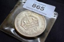 Australian 1937 silver one crown, extremely