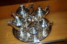 Sir John Bennett 6 piece art deco silver plate tea