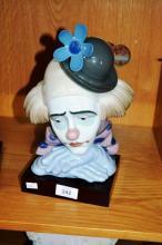 Lladro figurine clown head, bowler hat, model