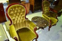 Pair of vintage Victorian style armchairs with