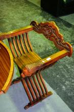 Set of 4x carved wooden chairs, slatted X-frame