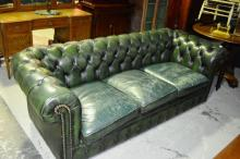 Vintage, 3 seater green leather Chesterfield sofa,