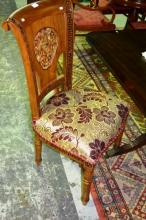 Set of 4x heavily carved solid teak dining chairs,