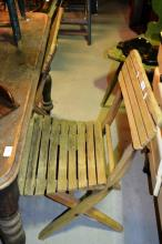 5 vintage timber slatted Sunday school chairs