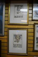 Pair of Italian hand coloured engravings, framed