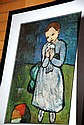 Picasso print of a young girl with dove, nicely