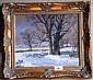 M. Komedera; oil on canvas, sheep in a snowy