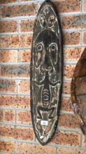 Early New Guinea Papuan Gulf gope board. Spriit board is from the Papuan Gulf, its form is very classical and traditional. The Papuan Gulf is broken up into different cultural areas, this distinctive style comes from the Kerewa area, 76 x 18cm