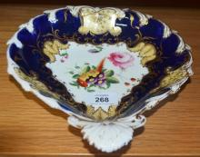 Antique porcelain dessert bowl, heart shaped, hand painted with floral posy and gilt highlights on a blue, white and cream coloured ground, unmarked, small crack to underside rim, late 18th Century, probably Derby, 23cm W