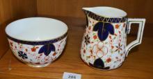 Antique Royal Crown Derby milk jug & sugar bowl, large size, Imari pattern, date stamped for 1888, jug height 13cm