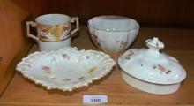 Small collection of Royal Crown Derby incl. heart shaped dish circa 1890's - small chip and hairline, double handled loving cup - hairline crack and gilt decoration circa 1790's, Derby Posies sugar bowl with crack and a Derby Posies large size teapot lid