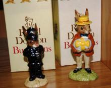 2 Royal Doulton Bunnykins figurines: Policeman Bunnykins DB64 and Mr Bunnykins at the Easter parade DB18, each with original box