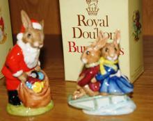 2 Royal Doulton Bunnykins figurines: Santa Bunnykins DB17 and Sleigh Ride DB4, comes with one box