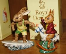 2 Royal Doulton Bunnykins figurines: Aussie Surfer DB133 and Tally Ho! DB12, comes with one box