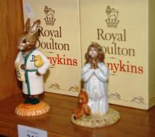 2 Royal Doulton Bunnykins figurines: Bedtime Bunnykins DB55 and Bathtime Bunnykins DB148, each with original box