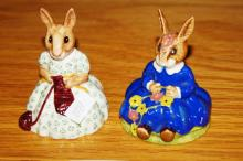 2 Royal Doulton Bunnykins figurines: Busy Needles DB10 and Spring Time DB7 (rare)