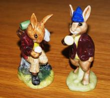 2 Royal Doulton Bunnykins figurines: Rise and Shine DB11 and Cooling Off DB3