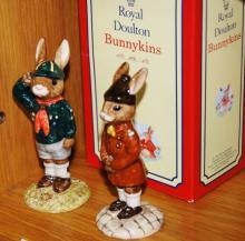 2 Royal Doulton Bunnykins figurines: Be Prepared DB56 (comes with original box) and Brownie Bunnykins DB61 (rare)