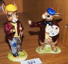 2 Royal Doulton Bunnykins figurines: The Artist DB13 (very rare) and Autumn Days DB5 (very rare)