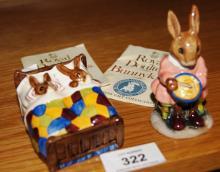 2 Royal Doulton Bunnykins figurines: Sleepytime DB15 and Helping Mother DB2