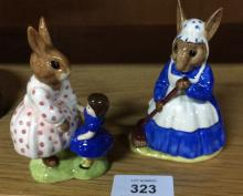 2 Royal Doulton Bunnykins figurines: Clean Sweep DB6 and Playtime DB8