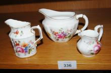 Royal Crown Derby 'Derby Posies'  3 various sized and shaped jugs, tallest is 8.5cm H