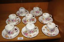 Royal Crown Derby 'Derby Posies'  set of 8 coffee cups and saucers, various marks, note: 1 cup is cracked