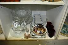 Glass vases, platters, mugs, 2 china plates incl Doulton, set of 'Jacks' Nao doll of little girl