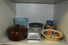 Adam's platter and bowl, Ansett plate, Avonware vase, Wedgwood casserole dish, pottery plant holder and 2 bowls