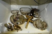 Various silverplate items incl. teapot, bowls, tureens and a brass wall mounted candle holder