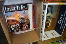 2 boxes incl. James Bond books, vintage HMV catalogues etc