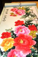 Pair of Chinese watercoloured scrolls, floral scene, & horses