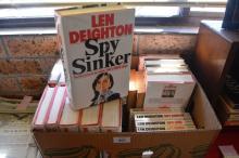 Box of Len Deighton books, combination of hard & soft back, incl. duplicates (17 1st edition hardback) & 9 special edition paperbacks