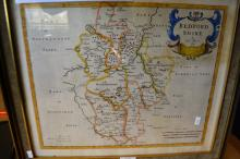 Antique map by Robert Morden of Bedfordshire hand coloured, dated 1695, map size within coloured border is 32 x 39cm