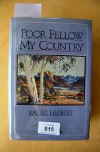 Book: 'Poor Fellow My Country' by Xavier Herbert 1975 1st edition, good example in good dust jacket