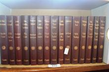 15 volumes from the Gordon Classic Library, all matching brown leather binding and gilt titles, incl. Bronte, Dumas, Austen etc.