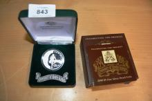 Commemorative pure silver $5 coin, for Centenary of Rugby League, 2008, weighs 36.31g, in excellent condition with original box and case