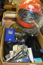 Box of LPs, as new motorcycle helmet, Sony Play Station 2 console, games and accessories, book on Olympic history