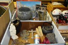 2 boxes: enamel cups, crucifix, piano sconces, teapot, metal items incl. bottle, poster, book and puzzle etc
