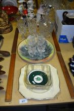 Crystal decanter and glassware, plates incl. Doulton, figurine, decanter, butter keep, pin dishes etc