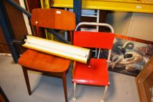 3 items incl. 1 x German 1970's yellow and black fluro light fittings, 1 x Parker style chair and 1 x child's tubular and ply painted chair design by William McArthur