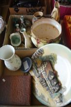 2 boxes: jardiniere, vases, Wedgwood, 3D display plate, coasters, placemats, Wedgwood boxed fruit set etc