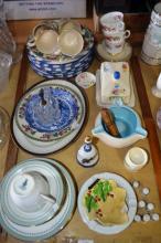 Various china incl. Carltonware, Doulton, Crown Devon butterkeep, bells, thimbles etc