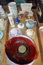 China incl, trios, Noritake, Wedgwood lidded trinket dish, jug, vases, horse figurines, platters and bowls, plus 2 brass items