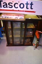 Early stained pine glass fronted cabinet 80 x 93cm