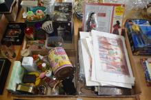 3 boxes: perfume bottles, kitchenalia incl. anodised cups, various pictures, paintings, watercolours, linen, vintage gloves, 'Dolls of the World' book etc