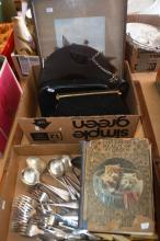 Vintage cutlery, book: 'Children's Realm of Stories', watercolour, qty of handbags etc