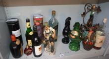 Various bottles, some full, some empty, incl. port, whisky, plus bird form glass decanters, decanter with matching glasses in wrought iron ivy form stand