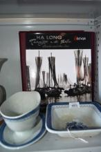 2 pieces of Danish blue & white pottery & a book on Halong 'Boats & the Sea', plus an oil painting